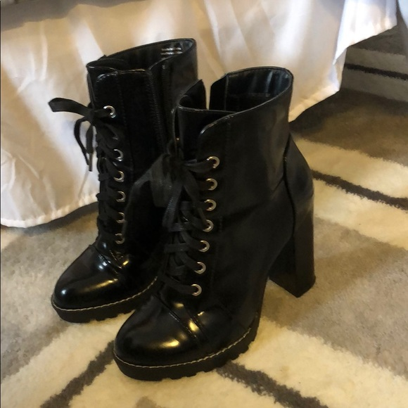 Patent Leather High Heel Combat Boots
